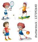 illustration of the four boys... | Shutterstock .eps vector #137392640