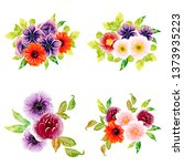 flowers set. collection of... | Shutterstock . vector #1373935223
