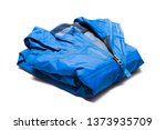 Small photo of Folded blue zipper windbreaker jacket, rain proof and waterproof hiking Gore-Tex jacket hoodie. Track jacket sport nylon full zip isolated on white. Folded clothes. Outer layer garment for travel.