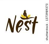 bird nest logo design... | Shutterstock .eps vector #1373989373