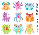 cute friendly monsters with... | Shutterstock .eps vector #1373991146
