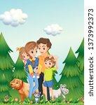 family in woods scene...   Shutterstock .eps vector #1373992373