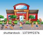 kids outside front school... | Shutterstock .eps vector #1373992376