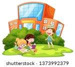 children playing outside school ... | Shutterstock .eps vector #1373992379