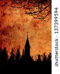 Church Silhouette Grunge Image