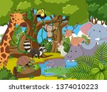 many animal in the jungle... | Shutterstock .eps vector #1374010223