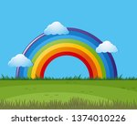 a rainbow nature scene... | Shutterstock .eps vector #1374010226