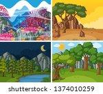 set of nature scene illustration | Shutterstock .eps vector #1374010259