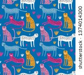 seamless childish pattern with... | Shutterstock .eps vector #1374014300
