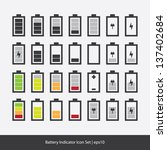 battery indicator icon set | Shutterstock .eps vector #137402684