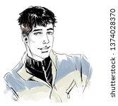 sketchy fashion illustration ... | Shutterstock . vector #1374028370