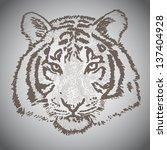 vector sketched tiger face ...   Shutterstock .eps vector #137404928