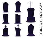 dark tombstone set for happy... | Shutterstock .eps vector #1374056669