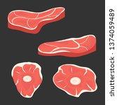 meat  chunks of fresh meat... | Shutterstock .eps vector #1374059489