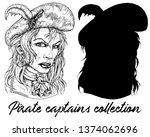 beautiful pirate captain woman... | Shutterstock .eps vector #1374062696