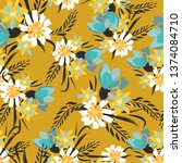 vintage seamless pattern with... | Shutterstock .eps vector #1374084710