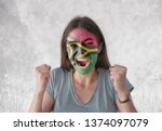 young woman with painted flag...   Shutterstock . vector #1374097079