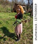 happy country women harvesting  ...