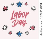 labor day design with red blue... | Shutterstock .eps vector #1374119363