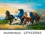 Stock photo colorful seven running horses on decorative texture natural background d wallpaper illustration 1374120563