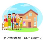 family and building poster... | Shutterstock . vector #1374130940