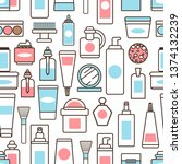 plastic bottles and jars with... | Shutterstock . vector #1374132239