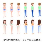 female and male constructor man ...   Shutterstock . vector #1374132356