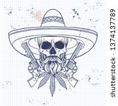 hand drawn sketch  skull with ... | Shutterstock .eps vector #1374137789