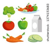 set vegetables and fruits to... | Shutterstock .eps vector #1374153683