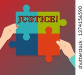 Handwriting text writing Justice. Concept meaning impartial adjustment of conflicting claims or assignments Four Blank Multi Color Jigsaw Puzzle Tile Pieces Put Together by Human Hands.