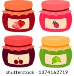 set of vector berry jams  lubny ... | Shutterstock .eps vector #1374162719