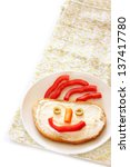 Happy Face On Bread . Isolated...