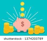 piggy bank vector illustration   Shutterstock .eps vector #1374203789
