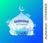 islamic illustration with... | Shutterstock .eps vector #1374205820