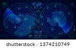 detailed military radar with... | Shutterstock . vector #1374210749