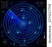 bright military radar display... | Shutterstock . vector #1374217709