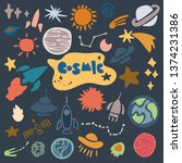 hand drawn space elements.... | Shutterstock .eps vector #1374231386