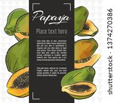 papaya fruit vector menu design ... | Shutterstock .eps vector #1374270386