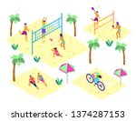 vector set of isometric beach...   Shutterstock .eps vector #1374287153