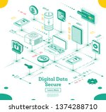 cyber security isometric...   Shutterstock .eps vector #1374288710