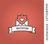 invitation line icon set | Shutterstock .eps vector #1374289949