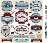 vintage frame coffee  sandwich  ... | Shutterstock .eps vector #137431184