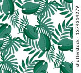 seamless pattern with tropical... | Shutterstock .eps vector #1374314279
