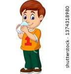 cartoon boy drinking milk | Shutterstock .eps vector #1374318980