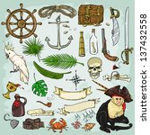 Pirates Collection. Set of pirates design elements - stock vector