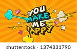 you make me happy pop art funny ... | Shutterstock .eps vector #1374331790