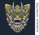 abstract tiger tshirt design | Shutterstock .eps vector #1374417536