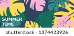 colorful summer banner with... | Shutterstock .eps vector #1374423926