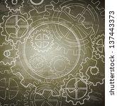 vintage gears over brown...   Shutterstock .eps vector #137443373