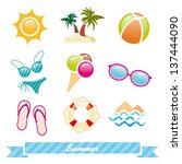 set of colorful summer icon | Shutterstock .eps vector #137444090